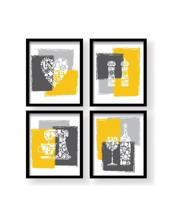 Mustard Yellow Home Wall Decor Yellow Kitchen Wall Art Set Etsy In 2021 Yellow Kitchen Yellow Kitchen Walls Kitchen Wall Art Set