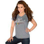 Touch by Alyssa Milano Kyle Busch Ladies V-Neck Tri-Blend Slim Fit T-Shirt - Ash