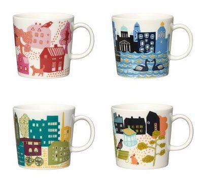 <3 Kotikaupunki mugs by Arabia