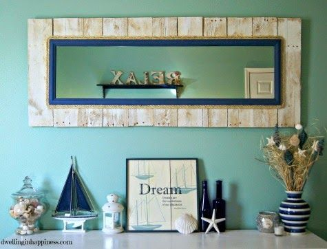 DIY Nautical Pallet Mirror! Featured on CC: http://www.completely-coastal.com/2015/03/diy-nautical-pallet-mirror-rope.html