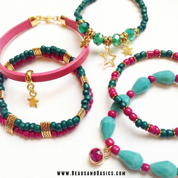 DIY Tutorial / Beads / Zelf sieraden maken / Armbandjes / Ketting / Kralen / roze en turkoois armbandjes /  Kralen webshop / Kerst