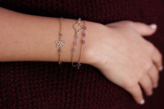 Clover Charm Bracelet 14k Solid Gold Beaded Bracelet Iolite