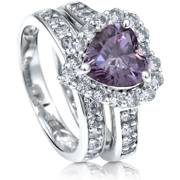 BERRICLE BERRICLE Sterling Silver Purple CZ Halo Heart Engagement... (€84) ❤ liked on Polyvore featuring jewelry, rings, 2 piece ring set, purple, women's accessories, sterling silver cubic zirconia rings, heart engagement rings, cz engagement rings, cz wedding rings and sterling silver wedding rings
