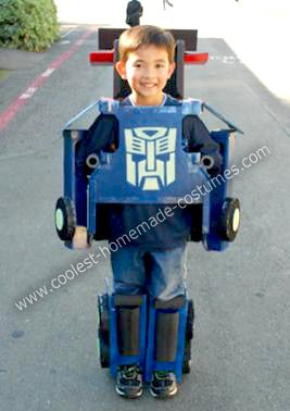 Homemade Optimus Prime Transformers: When Standing, the Homemade Optimus Prime Transformers costume looks like a robot and when kneeling/crawling, it transforms into a semi-truck.