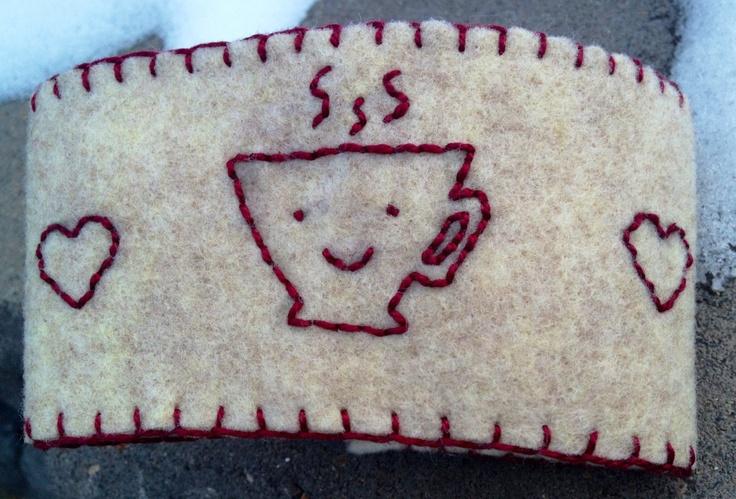 Happy Little Teacup Coffee / Tea Sleeve / Cozy - 50% of purchase price ($3) to benefit Dementia UK. $6.00 via Etsy