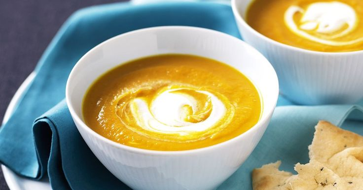 Here's a hot offer for winter - a tasty main-meal soup served with yoghurt and soft warm naan that feeds six hungry people. Freeze this Indian-inspired pumpkin soup ahead, then all you need to do for dinner is pour it into a pan to reheat while you warm up the naan.