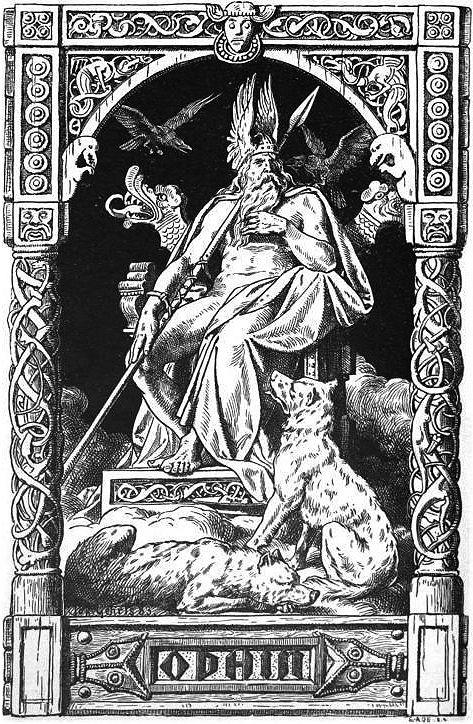 """Johannes Gehrts (1855-1921) - Odin avec ses loups Geri & Freki, et ses corbeaux Hugin & Munin - Dessin à la plume (1884) - Représentant (non-exclusif) des fonctions des dieux de la mort & de la guerre, Odin est associé au loup, animal réputé se repaître des cadavres sur les champs de bataille. D'après le """"Traité de mythologie scandinave"""" (1871), les deux noms Geri et Freki signifient """"vorace"""", ou encore respectivement """"avide"""" & """"violent""""."""