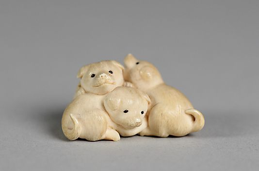 Netsuke of Three Puppies, 18th century. Japan. The Metropolitan Museum of Art, New York. Gift of Mrs. Russell Sage, 1910 (10.211.775) #dogs