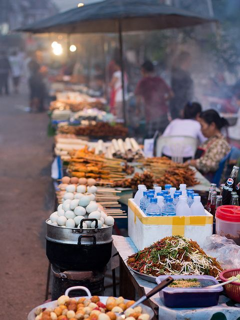 Endless stalls selling all kinds of delicious and very fresh street food - Rue Chao Anou, Vientiane, Laos