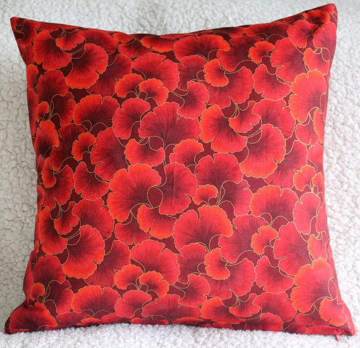 Red Cushion Cover, Leaves Cushion Cover, Dark Red Cushion Cover, Living Room, Conservatory, Housewarming Gift by C4Cushions on Etsy