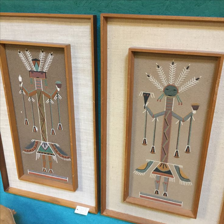 Two signed sand paintings by James C. Coe, the original sand painting artist who started experimenting with this medium in 1962. One is dated 1971, the other is undated. Priced at $125 each in Booth 509