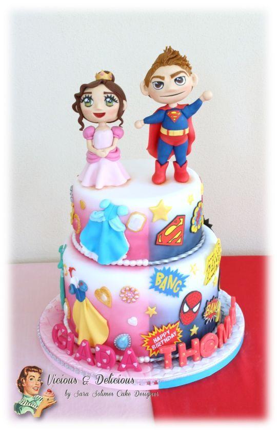 Princess/Heroes twin cake