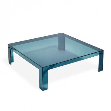Kartell teal invisible cocktail table new couch coffee for Teal coffee table
