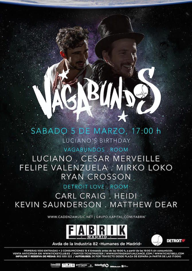 "On Saturday 5th March, a wholly unique night hits Madrid's Fabrik. This esteemed club with over a decade of deep history proudly welcomes one of the most cherished party brands that the underground has to offer ""VAGABUNDOS"". Conceived by Cadenza boss Luciano, Vagabundos is distinctly bohemian and immersive in nature. It will certainly feel right …"