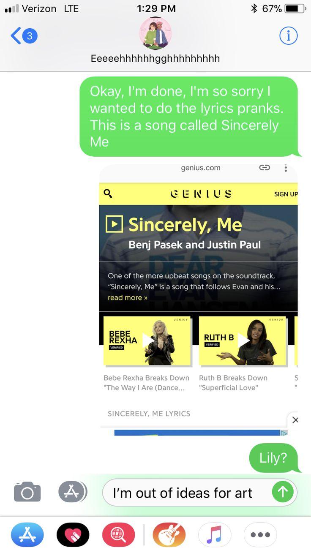 Best 25 Lyric text prank ideas on Pinterest Lyric prank text songs