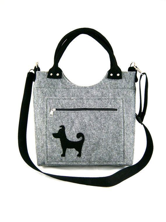 Dog handbag Felt purse Bag for women Gray bag Felt by Torebeczkowo