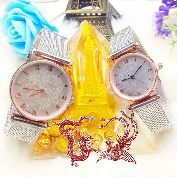 parejas de dragón y fénix de la banda de acero inoxidable reloj