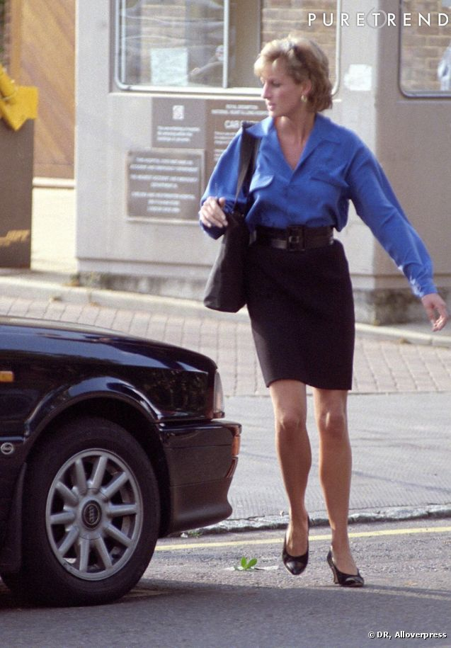 Black pencil skirt & blue cobalt blouse.