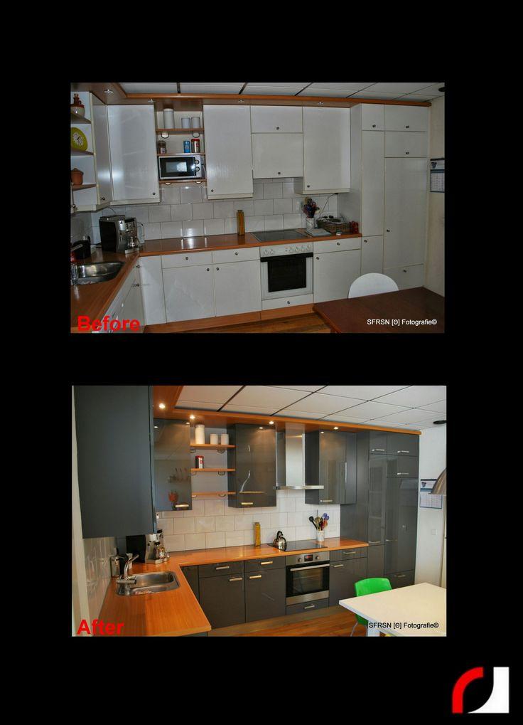 Hoogglans Keuken Verven : houtnerf naar een strakke grijze hoogglans keuken! #Spuiterij #Verven