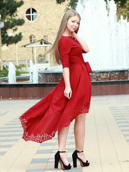 59705ae521 SHEIN Burgundy Party Laser Cut Dip Hem Belted High Waist 3/4 Sleeve Solid Asymmetrical  Dress
