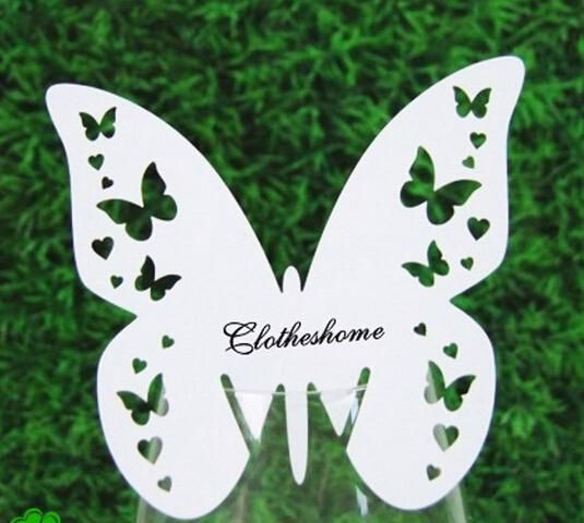 Cheap Wine Glass Cards Wedding Party Decorations Wine Glass Markers Wedding Cake Toppers Name Card Table Marker White Butterfly B012, $0.19 | DHgate.com