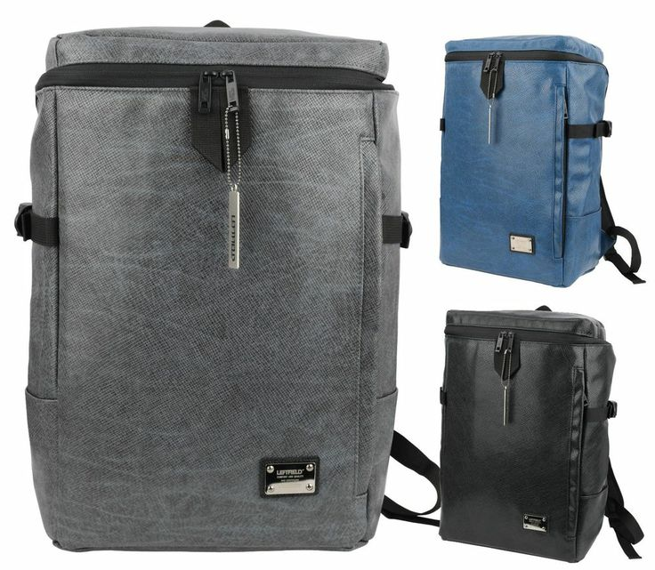 Mens Synthetic Leather Laptop Backpacks Casual Square School Bookbag NWT MESH600 #LeftField