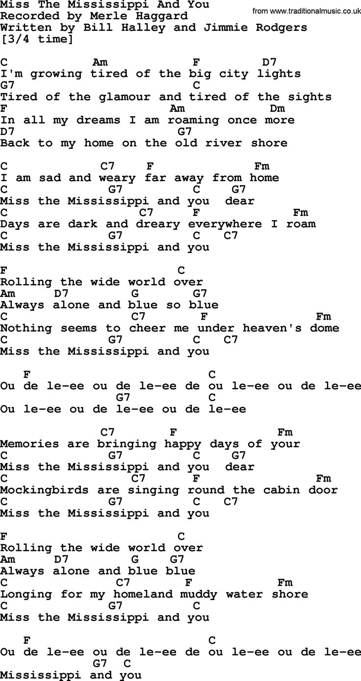 Merle Haggard song Miss The Mississippi And You, lyrics and ...