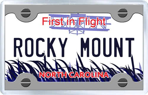$3.29 - Acrylic Fridge Magnet: United States. License Plate of Rocky Mount North Carolina