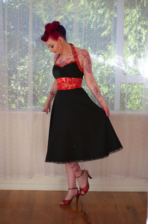 Black Pin Up Dress 'Mae' 1950s Full Skirted Style with Red Chinese Silk Trim and Halterneck - Any Color, Any Size - Custom made to fit
