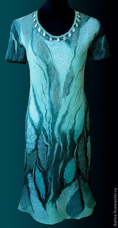 """платье валяное из войлока и шелка """"Тихая заводь"""" - тёмно-бирюзовый,абстрактный"""
