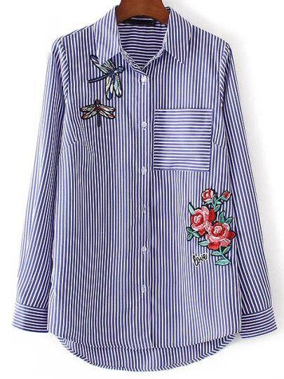 Синий Вертикальная Полосатый цветок вышивка Высокая Низкая Блуза