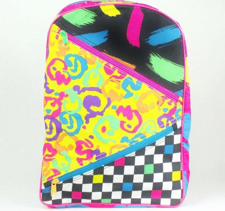 RARE Vintage LISA FRANK BACKPACK Unusual Patchwork pattern Neon Colors EXCELLENT #LisaFrank