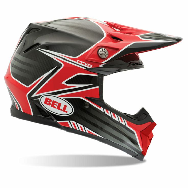 2014 Bell Moto 9 Carbon Motocross Helmet - Pinned Red - 2014 Bell Motocross  Helmets -