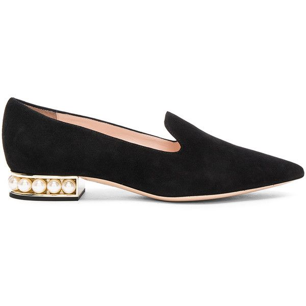 Nicholas Kirkwood Suede Casati Pearl Loafers (€595) ❤ liked on Polyvore featuring shoes, loafers, flats, small heel shoes, flats loafers, loafers moccasins, loafer shoes and short heel shoes