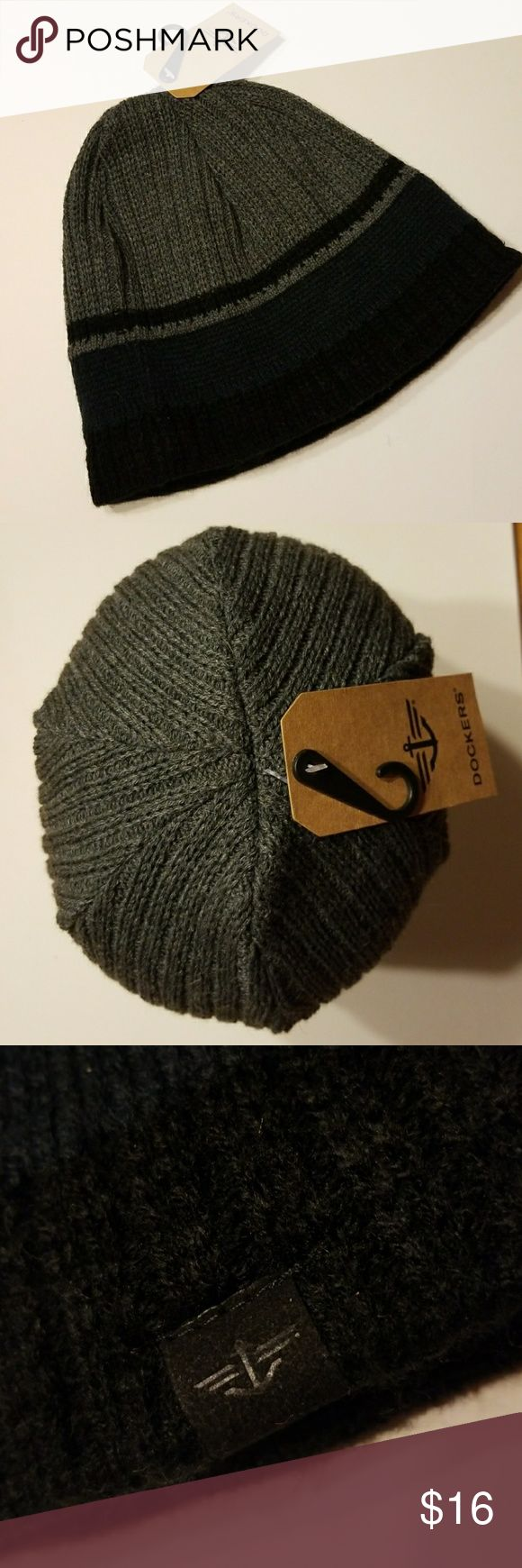 "Dockers Knit Hat Fleece Lined Banding NEW WITH TAGS NEVER WORN   Dockers Fleece Band Lining Inside This Stocking Knit Ski Hat to Keep You Cozy and Warm !  Band Measures @ 2"" Gray and Black Unisex  Be Sure To Check Out The Rest of My Listings For Additional Mens Women's Kids Winterwear Gloves Scarves Hats Mittens Coats Socks and Boots   ✔ BUNDLE UP FOR SAVINGS   ✔ Dockers Accessories Hats"