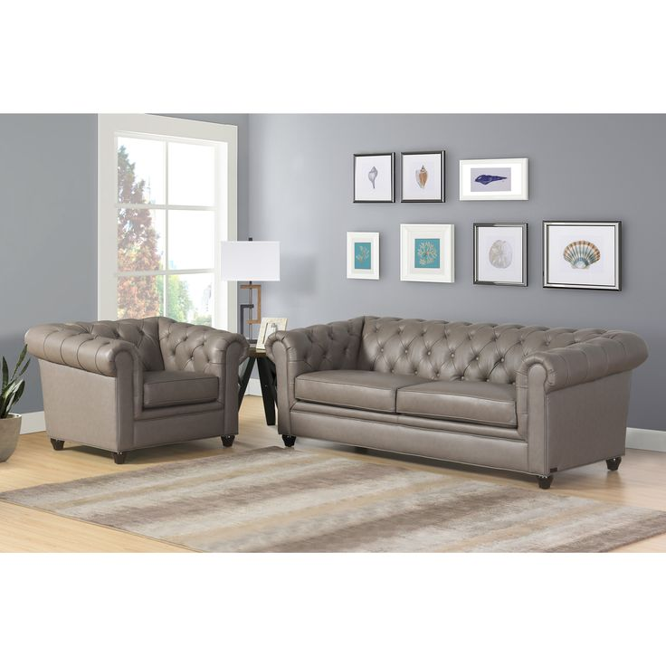 Abbyson Tuscan Top Grain Leather Chesterfield 2 Piece Living Room Set  (Brown) Part 53