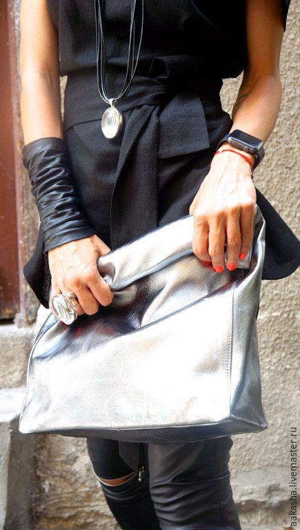 Купить Клатч LIMITED EDITION - серебряный, клатч, серебристый клатч, сумка из кожа, кожаный клатч