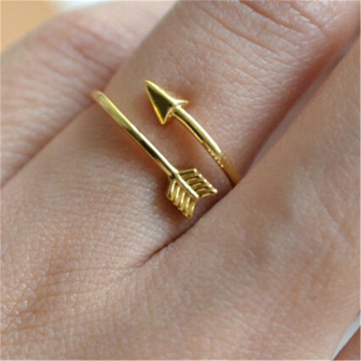 Vintage Hunger Games Delicate Adjustable Wedding Ring Women Jewelry 2017 Gold Plated Anel One Direction Simple Arrow Wrap Rings