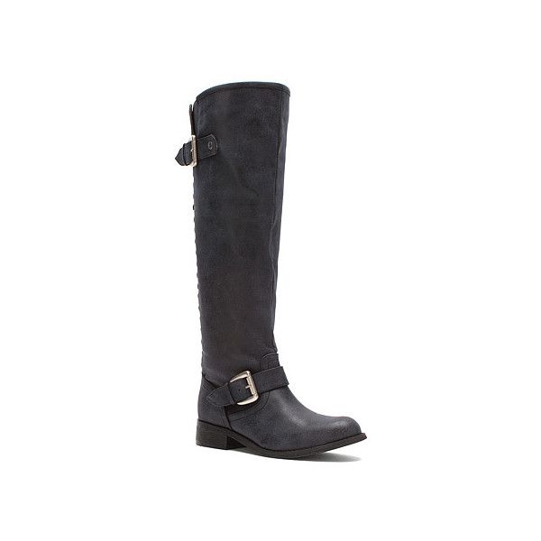 Madden Girl Cactuss (59 AUD) ❤ liked on Polyvore featuring shoes, boots, black, women, equestrian boots, flat knee boots, black low heel boots, vegan boots and flat knee high boots