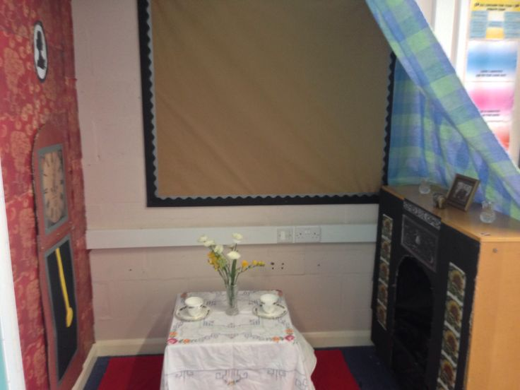 Victorian role play area with fire, wallpaper and grandfather clock