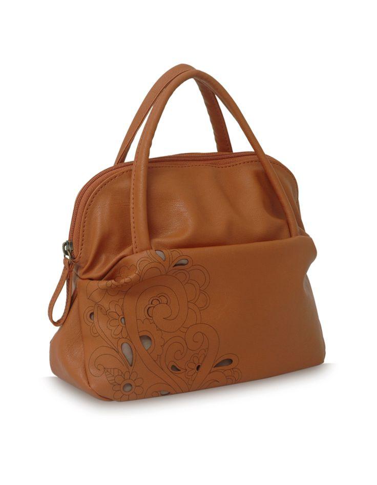 Dreamscape Tarzen Tan : A tan laser cut floral Baggit Bag.