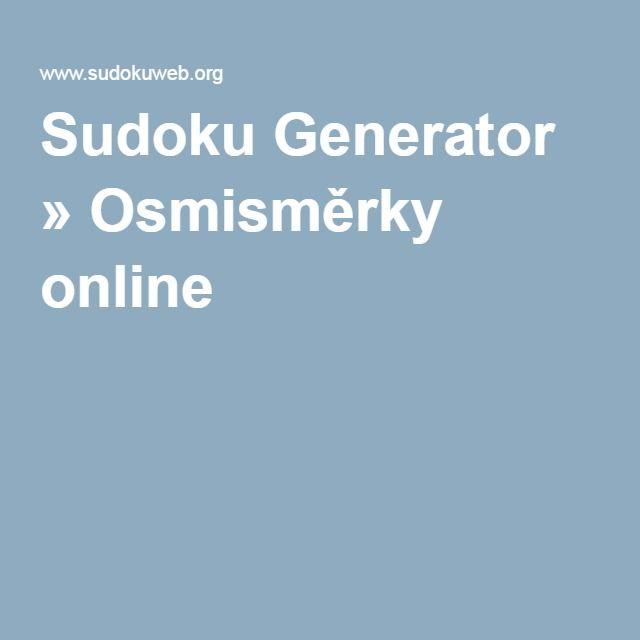 Sudoku Generator » Osmisměrky online