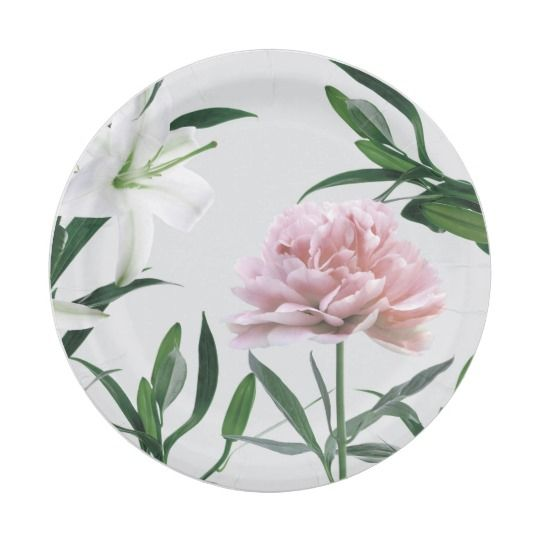 Pink Peony and White lily Floral Paper Plate