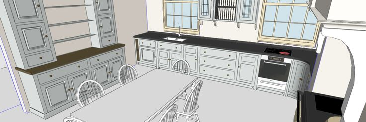 image depicting a concept sketch of a kitchen design. Interior Design project.