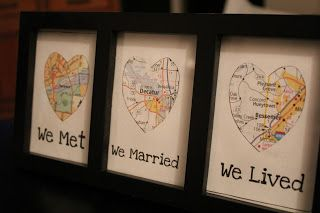 Frame maps of where we met, married  lived =)