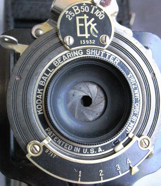 1A Kodak with Meniscus Lens in Ball Bearing Shutter and Numerical Aperture System - Note Absent Front Lens Element and Bowl-Shaped Shroud