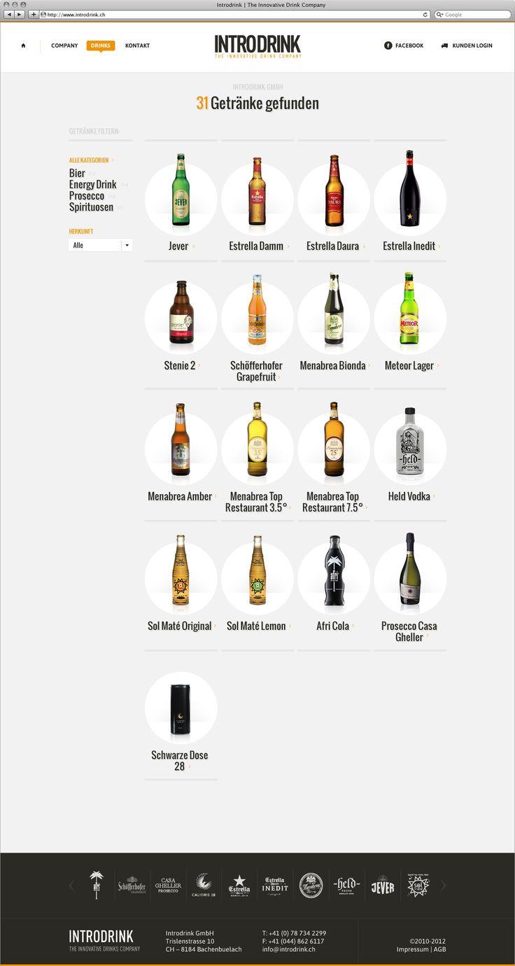 Introdrink Webdesign Drink Overview