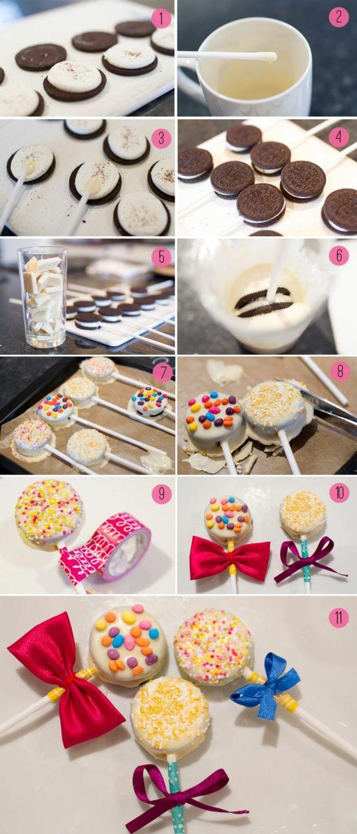 pop cookies   oreo kekse mit glasur aus weißer schokolade
