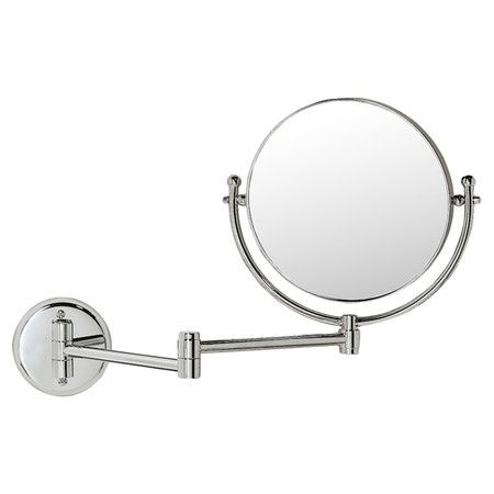 Featuring A Wall Mount Design And Extendable Arm This Double Sided Magnifying Mirror Is An Essential Addition To Your Master Bath Or Guest Suite