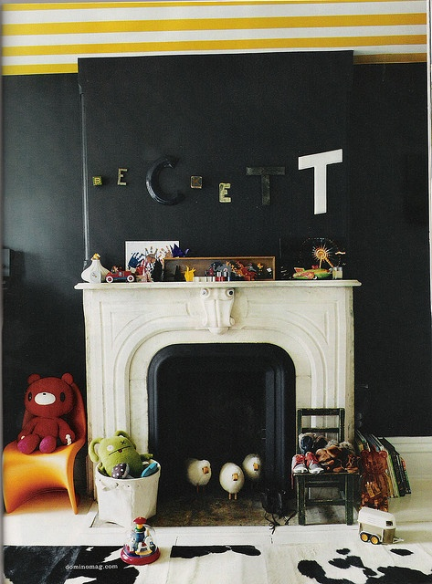 black for kids: Yellow Stripes, For Kids, Black And White, Black Kids, Bedrooms Interiors, Stripes Ceilings, Black Wall, Interiors Ideas, Kids Rooms